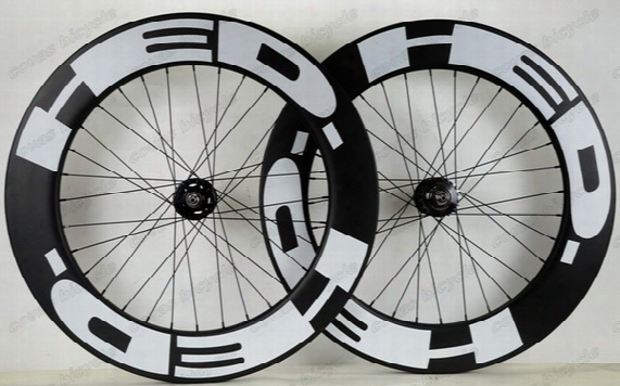 Freeshipping 700c 88mm Depth 25mm Width Clincher Carbon Wheels Track Wheel Fixed Ger Single Speed Wheelset With Hub Novatec 165/166
