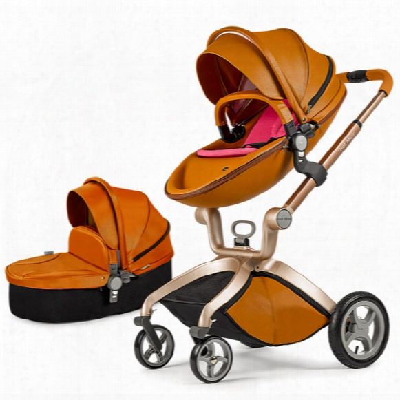 Hotmom Brand Fashion Pu Leather Baby Stroller Pushchair Egg Shaped Pram Baby Child Shock 4 Wheels Children Trolley Baby Carriage