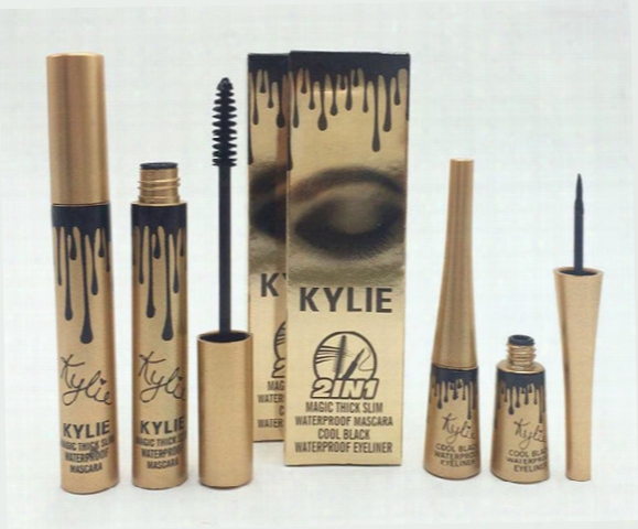 New Arrival High Quality 2 In1 Kylie Mascara+eyeliner Charming Eyes Magic Thick Slim Waterproof Mascara Eyeliner Black Dhl Free Shipping