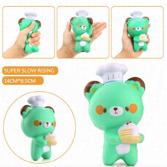 New Cute Chef Bear Soft Cartoon Doll Squeeze Squishy Slow Rising Package Gift Kids Toy Wholesale