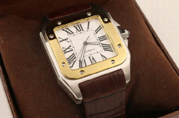 New Luxury Brand Men Two Tone 100 Xl Watch Automatic Mechanical Watch Brown Leather Gold Case Men's Sports Original Clasp Wristwatches
