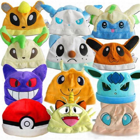 Poke Plush Hats Pikachu Eevee Gengar Cosplay Beanie Caps 12 Styles Cute Cartoon Poke Go Plush Caps Hats For Xmas Gift