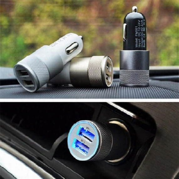 Top Quality 3.1a Aluminum Material 2 Ports Universal Dual Usb Car Charger For Iphone 5s 6g 6+ 6s Plus Samsnug Note5 S6 Edge