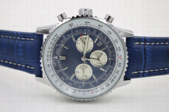 Top Quality New Brand Automatic Men's Wristwatch Navitimer Ti3 Blue Dial Blue Leather 1884 Fashion Male Watch