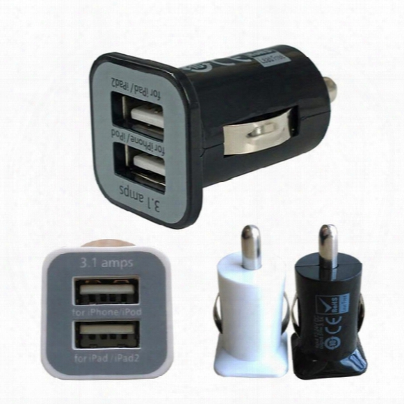 Usams 3.1a Usb Dual Car Charger 5v 3100mah Dual 2 Port Mini Car Chargers Power Adapter For Iphone 6 5s Htc Ipod Itouch Samsung Galaxy S5 S4