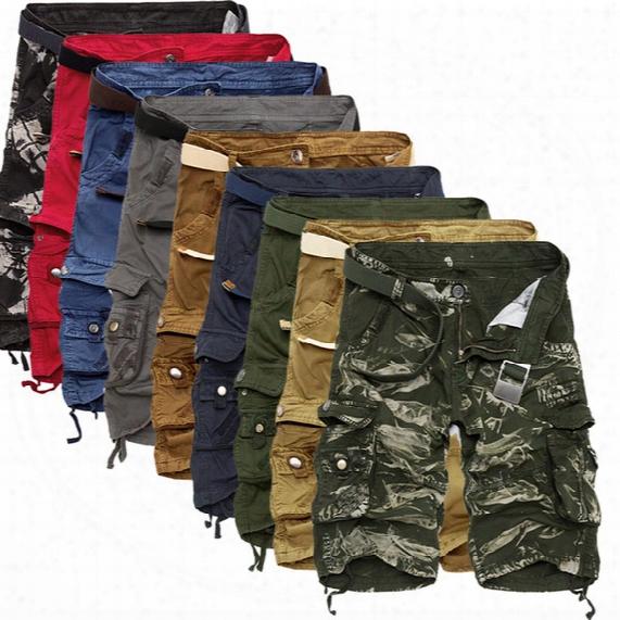 Wholesale-top Selling 2016 Summer Calf-length Cargo Mens Shorts Multi-pocket Solid Men Beach Shorts Capris