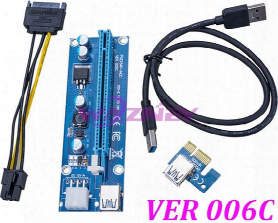 100pcs Pci-e 1x To 16x Riser Card + Usb 3.0 Data Cable Sata 15 Pin To 6 Pin Power Cable Ver 006c For Bitcoin Mining