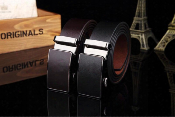 2015 Brown And Black Pure Color Cow Genuine Leather Belts For Men Sale Automatic Mens Belt Starp Sale Freeshipping