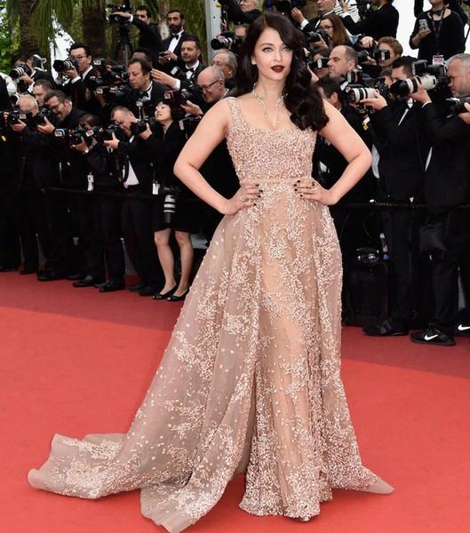 2016 Cannes Film Festival Overskirt Celebrity Dresses Araya A. Hargate In Elie Saab Prom Gowns Long Red Carpet Evening Dresses