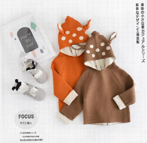 2016 New Autumn Winter Children Baby Fashion Cartoon Deer Sweater Coat Ny0-80