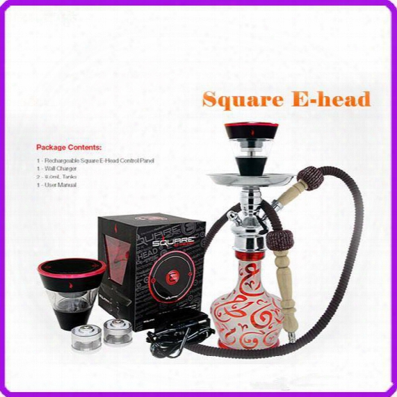 2016 Newest Design Square E Head Ehead E-head,e Hose Mini Ehose E Shisha Square Cartridge Refillable E Hookah Disposable Hookah Dhl