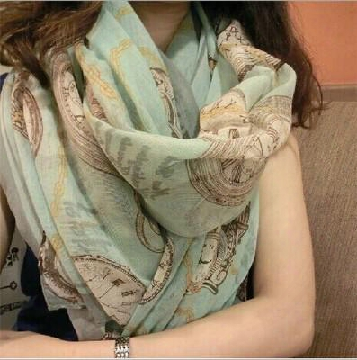 2016 Rushed Direct Selling Printed Long Tome Satin Praia Warm Scarf Shawl Shallow Green Clock And Wholesale Beach Towels Scarves To Winter
