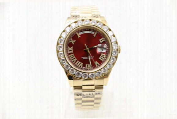 2017 Men Diamond Luxury Brand Day-date Red Face Diamond Watch Men Automatic Aaa Sapphire 18k Original Clasp Mechanical Wristwatche