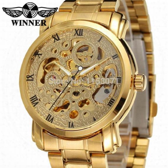 2017 New Winner Luxury Brand Luxury Sport Men Automatic Skeleton Mechanical Military Watch Men Gold Full Steel Stainless Band