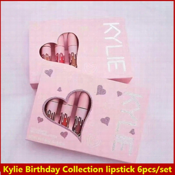 2017 Newest Makeup Kylie Birthday Collection Matte Liquid Lipstick 6pcs/set I Want It All Valvet & Matte Colors By Kylie Jenner Lip Gloss