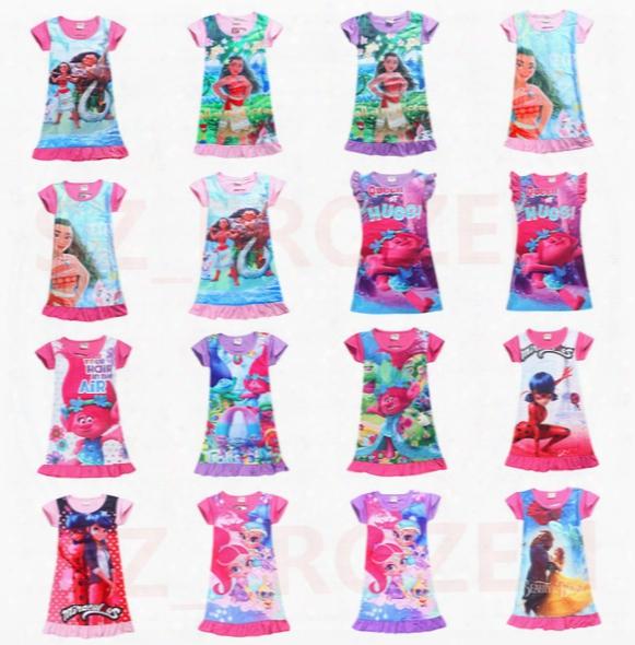 2017 Summer Baby Girl Dress Ice Silk Cartoon Trolls And Moana Kids Pajamas Ruffle Hem Extra Comfy Girls Clothes Children Clothing Free Ship