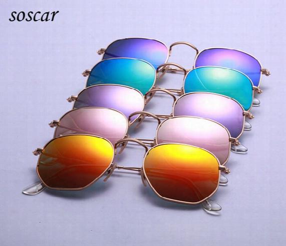 2017 Unique Hexagonal Flat Lenses Sunglasses Soscar 3548 Brand Designer Sunglasses Metal Frame Coating Sunglasses With Retail Package