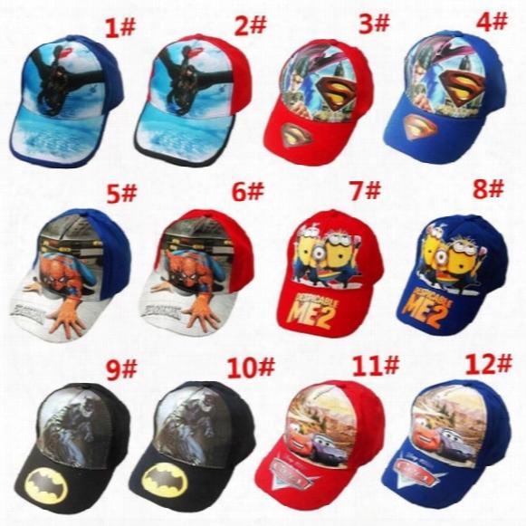 20pcs 12 Colors Hot Sale Children Hat Cotton Cartoon Spiderman Cars Superman Batman Print Cap Girls Boys Sun Hat Baseball Cap Spring Hats