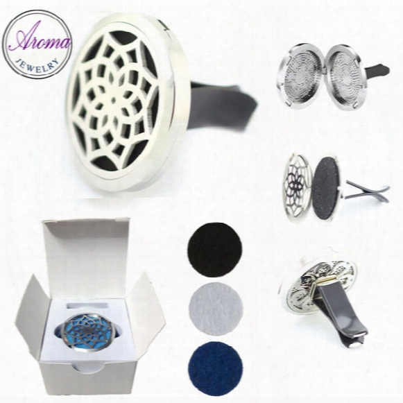 316l Stainless Steel Car Essential Oil Aroma Locket With Retail Packaging Box Lotus(38mm) Magnet Diffuser Free Pads
