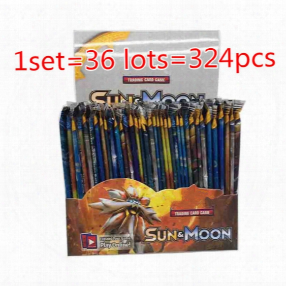 324pcs/set Poke Trading Cards Sun And Moon Version Poke Card Children Kids Anime Cartoon Party Board Games Toys Dhl Nc040