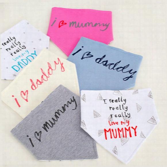 Baby Bibs Infants Burp Cloths Saliva Towel Triangle I Love Mummy I Really Love My Daddy Cute Letters Slabbetjes Bandana Feeding Scarf 2016
