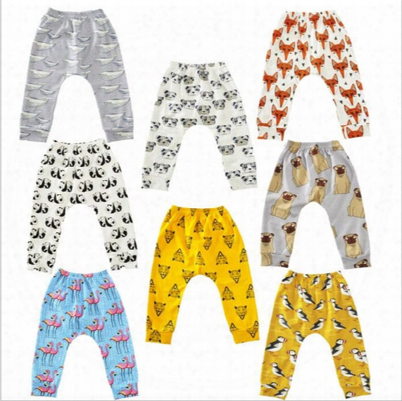 Baby Flamingos Leggings Animal Printed Haroun Pants Cartoon Pp Pants Fox Penguin Tights Fashion Casual Trousers Children's Clothing B2393