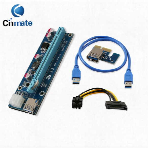 Fixable Pci-e Express Extender Riser Card Adapter 1x To 16x W/6 Pin Power Cable Usb 3.0 Ports Cable 60cm Best Quality