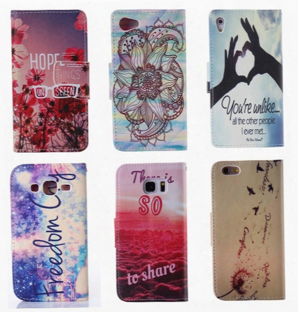 Flip Cover Leather Pouch For Iphone 6 6s/plus/se 5 5s/4s/sony Xperia Z5/compact/huawei P8/lite Feather Wallet Wave Flower Panda Cartoon Skin
