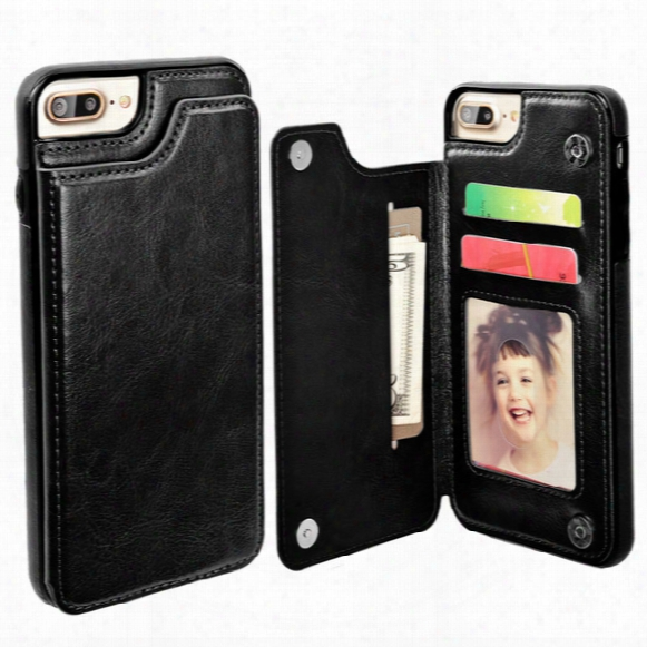 For Iphone 7 Wallet Leather Case With Card Money Slots Slim Multi-functional Folio Id Window Shockproof Tpu Cover For Iphone 6 6s Plus