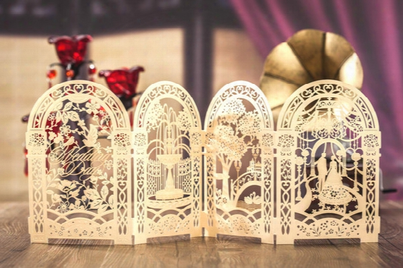 Gold Custom Personalized Wishmade Laser Cut Wedding Invitation Cards Kit, With Envelopes, Seals, Personalized Printing, For Wedding