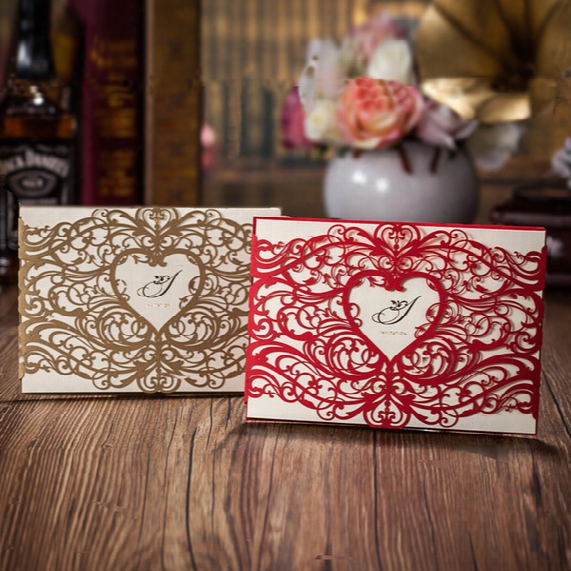 Gold Laser Cut Heart Shaped Wedding Invitations Cards Hollow Folded Invitations Card For Wedding Party Supply Free Printing And Customized
