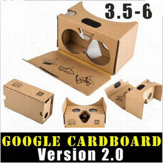Google 2 2.0 Version Cardboard Glasses Diy 3d Vr Boxes Virtual Reality V2 Viewing Carton Google Glasses For Iphone 7 6s 6 Plus S7 S8 S8plus