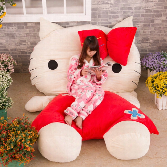 Hot Korean Huge Comfortable Hello Kitty Cute Cat Soft Cartoon Bed Sleeping Bag Pad Filling Stuffed Plush Tatami Big Large Size Toysd Oll