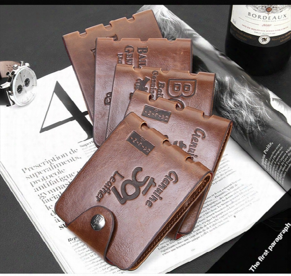 Hot Sale Wallets Brand New Mens High Quality Leather Wallet Pockets Card Clutch Cente Bifold Purse Retro Men's Leather Brief Purse Free Ship
