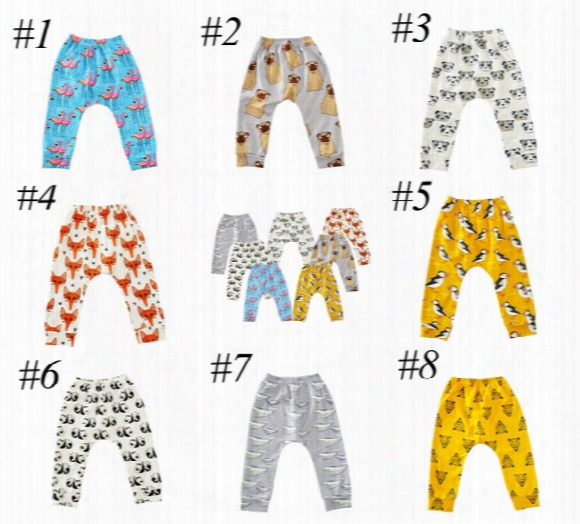 Ins Baby Animal Cartoon Leggings Casual Cartoon Animal Pants Colorful Fox Panda Tiger Infant Long Trousers Pp Pants 8colors Choose Free Ship