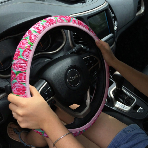 Neoprene Lilly Floral Steering Wheel Cover Rose Auto Car Wheel Wraps Protection Wraps Car Accessories In 6 Colors Car Decor Gift Dom106604