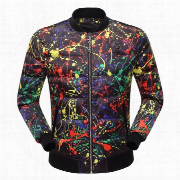 New 2017 Men 's Models Skull Paint Zipper Stand Down Collar Hit Color Cardigan Warm Casual Cotton Jacket Men' S Shirt
