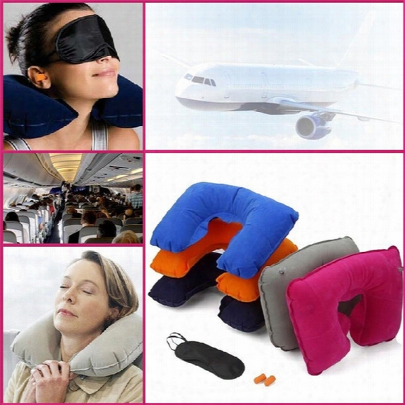 New 3 In 1 Outdoor Camping Car Travel Kit Set Inflatable Neck Rest Pillow Cushion+black Eye Mask+ 2 Ear Plugs Free Shipping 1953