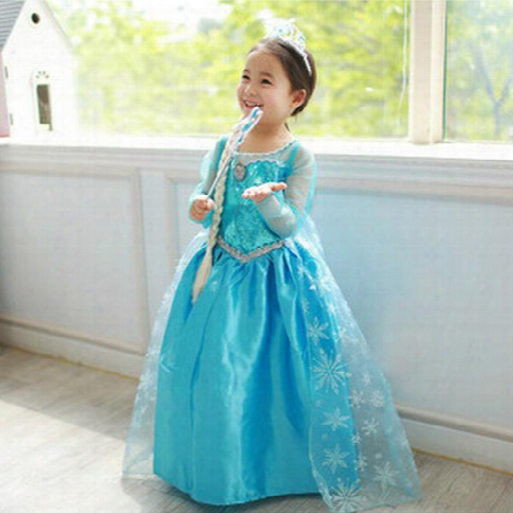 New Frozen Dress Costumes Long Sleeve Skirt Princess Elsa Party Wear Clothing For Halloween Saints'day Frozen Princess Dream Dress(1701009)