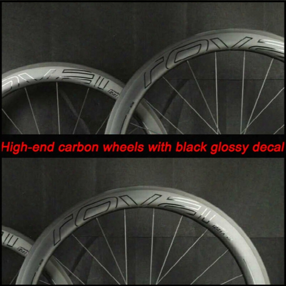 Oem Carbon Fiber Bike Road Wheels 50mm Deep Clincher 700c V Brake Systern Basalt Brake Skewer And Brake Pad Included