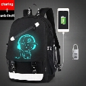Senkey style Men Backpack Fashion with External USB Charging charger function Laptop Mochila Cartoon Anime Luminous School Noctilucent Bags