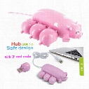 Wholesale Cute Pink Pig Hub 3 USB ports with 1 TF Card Reader USB pig 3 HUB with one pig Micro SD Card Reader for Computer USB HUB expansion