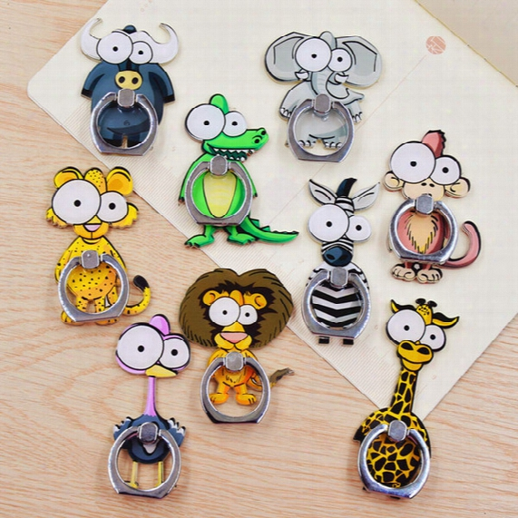 Universal 360 Degree Cute Cartoon Animal Finger Ring Holder Phone Stand For Iphone 7 6s Samsung For Mobile Phones