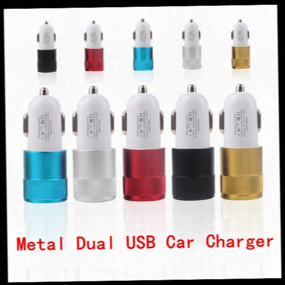 Universal Car Charger Metal Alumium Alloy Dual Usb Port Car Charger 2.1a 1a For Iphone 5s Ipad Sumsung Galaxy S6 Htc Lg