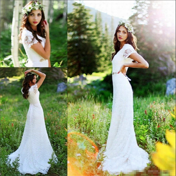 Vintage Country Crochet Lace A-line Wedding Dresses With Beaded Belt 2017 Modest Cap Sleeve Bohemian Cheap Modest Bridal Dress