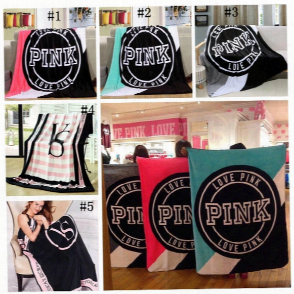 Vs Pink Letter Blanket 130*150cm Soft Coral Velvet Beach Towel Blankets Air Conditioning Rugs Comfortable Carpet Ooa2729