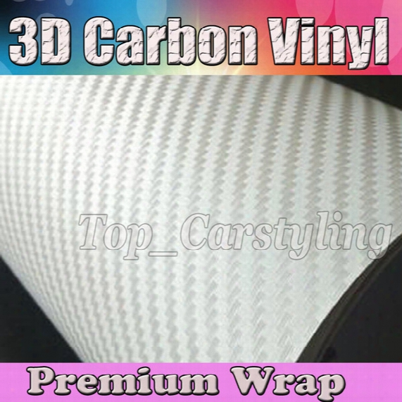 White 3d Carbon Fibre Vinyl Wrap Sticker Air Bubble Free Car Bike / Air Release Car / Boat / Table Covering 1.52x30m/roll 5x98ft