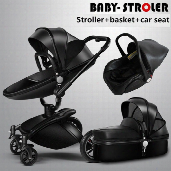 Wholesale- 2017 New Brand Baby Strollers 3 In 1 Leather Baby Pram Aulon Europe Baby Car Seat Basket Leather Bassinet Golden Frame Gifts