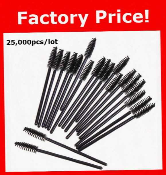 Wholesale 25,000pcs/lot New Black Disposable Eyelash Brush Mascara Wands Applicator Makeup Cosmetic Tool