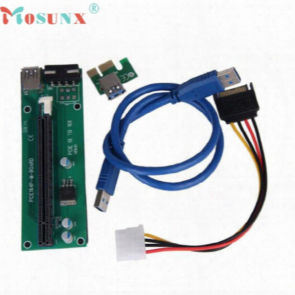 Wholesale- Mosunx New Mecall Pci-e Express Powered Riser Card W/ Usb 3.0 Extender Cable 1x To 16x Monero Wholesale Mo04